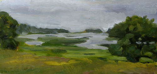 "Essex Marsh,  6"" x 12"", Oil on Panel ©Michelle Arnold Paine PURCHASE"