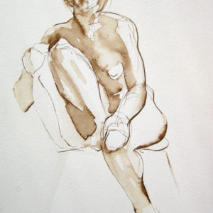 Seated Figure: Lana, 9 x 6, Walnut ink on paper ©Michelle Arnold Paine PURCHASE