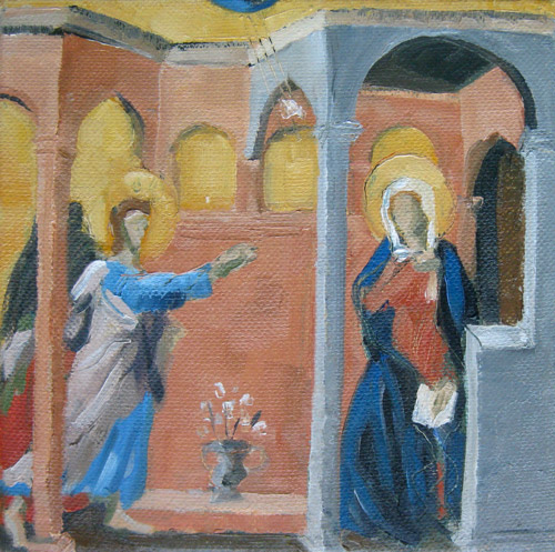 Annunciation after Duccio, Oil on Canvas, 6x6, ©Michelle Arnold Paine