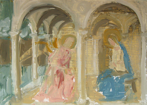 "After Fra Angelico 1, Oil on matboard, 5"" x 7"" ©Michelle Arnold Paine 2011"