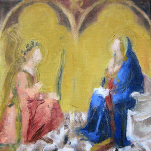 Oil painting Annunciation after Lorenzetti ©Michelle Arnold Paine 2012