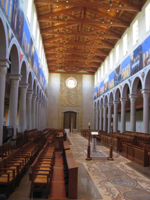 View of the nave towards the entrance, Church of the Transfiguration, Orleans, MA