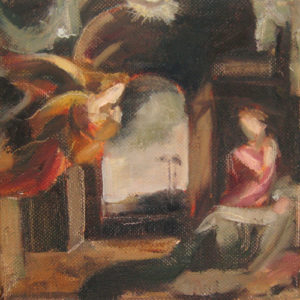 Annunciation after Beccafumi, Oil on Canvas, 6x6 ©2012
