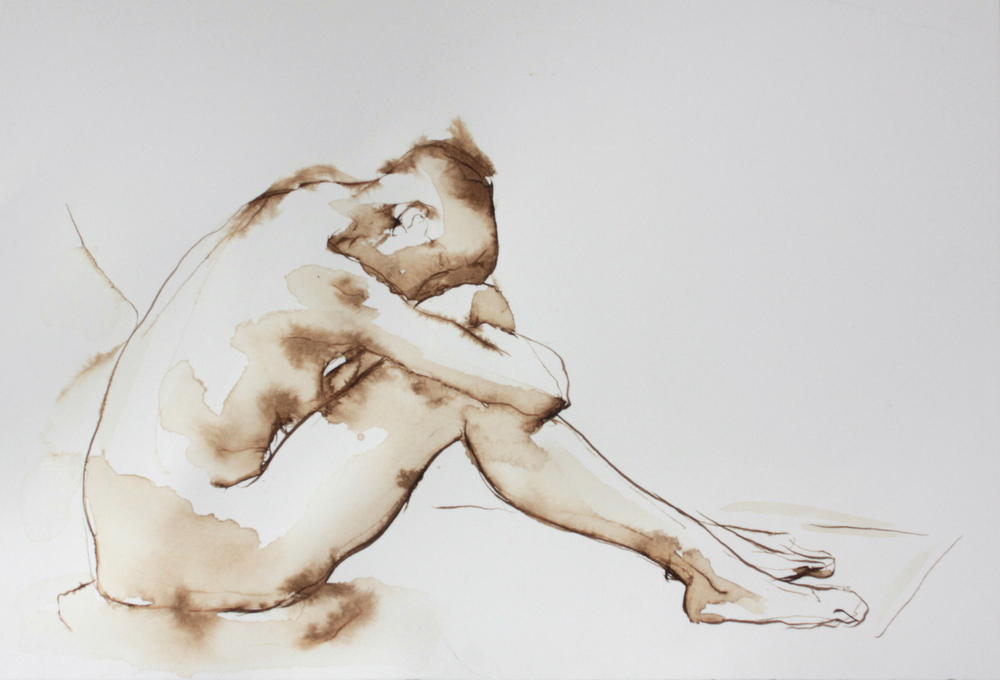Natalie Retreating, figurative,10x7,price $125,pen and ink
