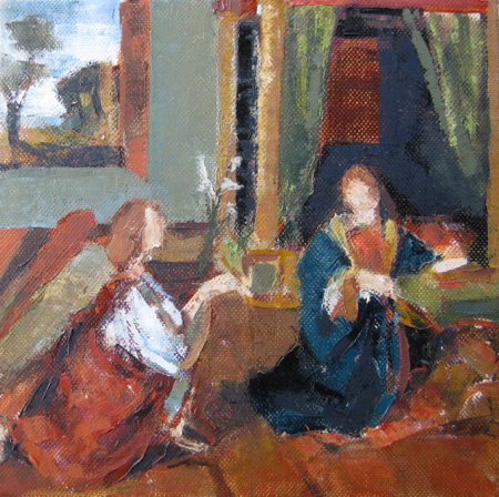figurative,oil on canvas,8x8, price $300,Annunciation after Solario