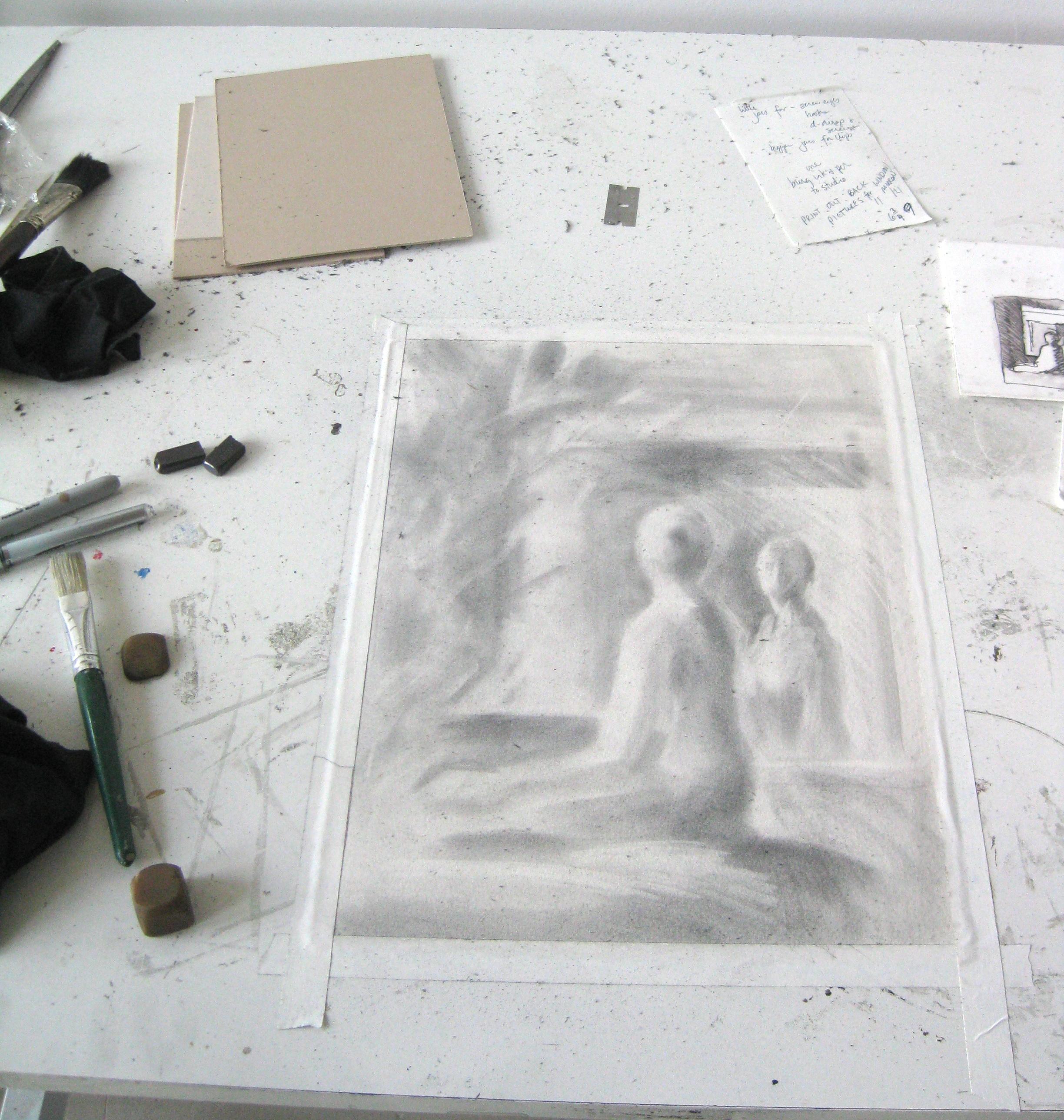 Figure in Mirror – Drawing in Progress