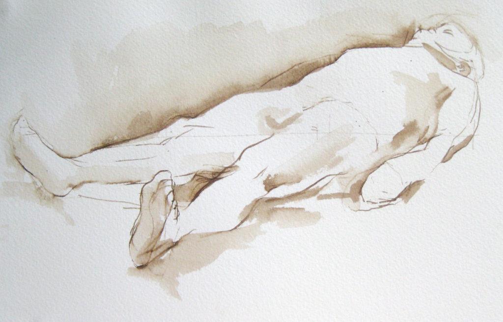 "Gulliver Reclining, Walnut Ink on Paper, 7"" x 10"", ©Michelle Arnold Paine 2014"