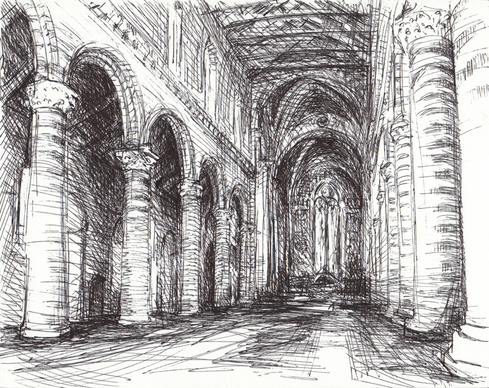 Orvieto Duomo Interior, ©Michelle Arnold Paine 2009, Ink on Matboard
