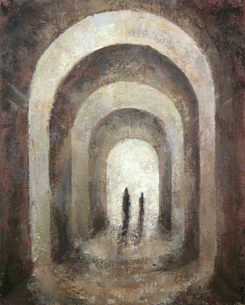 sacred architecture painting: arches and figures