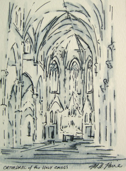 Church Interior Ink Drawing. Cathedral of the Holy Cross Boston.
