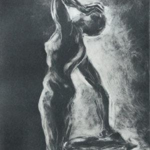 kneeling twist monprint