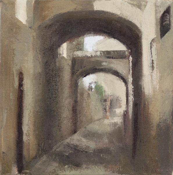 oil painting of medieval Assisi passageways