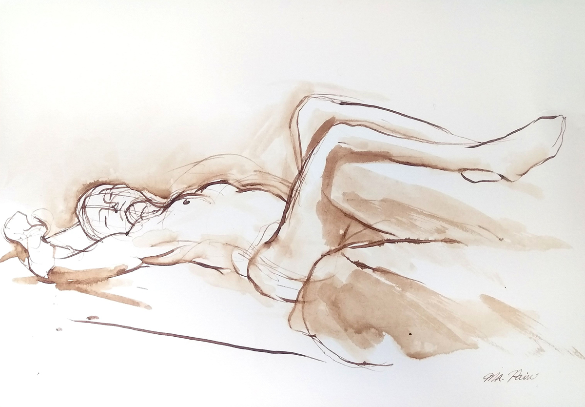 Female Figure Reclining ...  sc 1 st  Michelle Arnold Paine & Female Figure Reclining with Legs Up Original Ink Drawing ... islam-shia.org