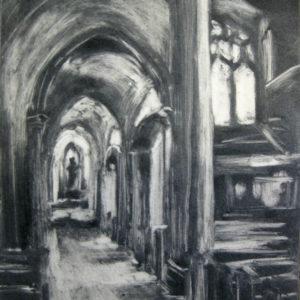 church architecture monoprint black and white St. Joseph's Side Aisle