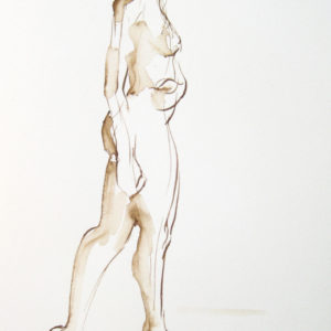walnut ink drawing standing figure turning