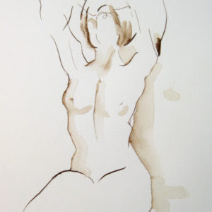female figure reaching walnut ink on paper drawing