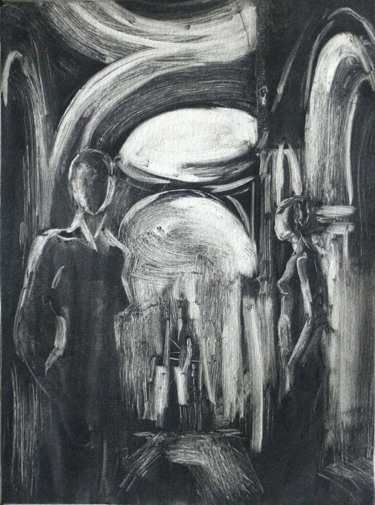 black and white monotype of church interior with two women