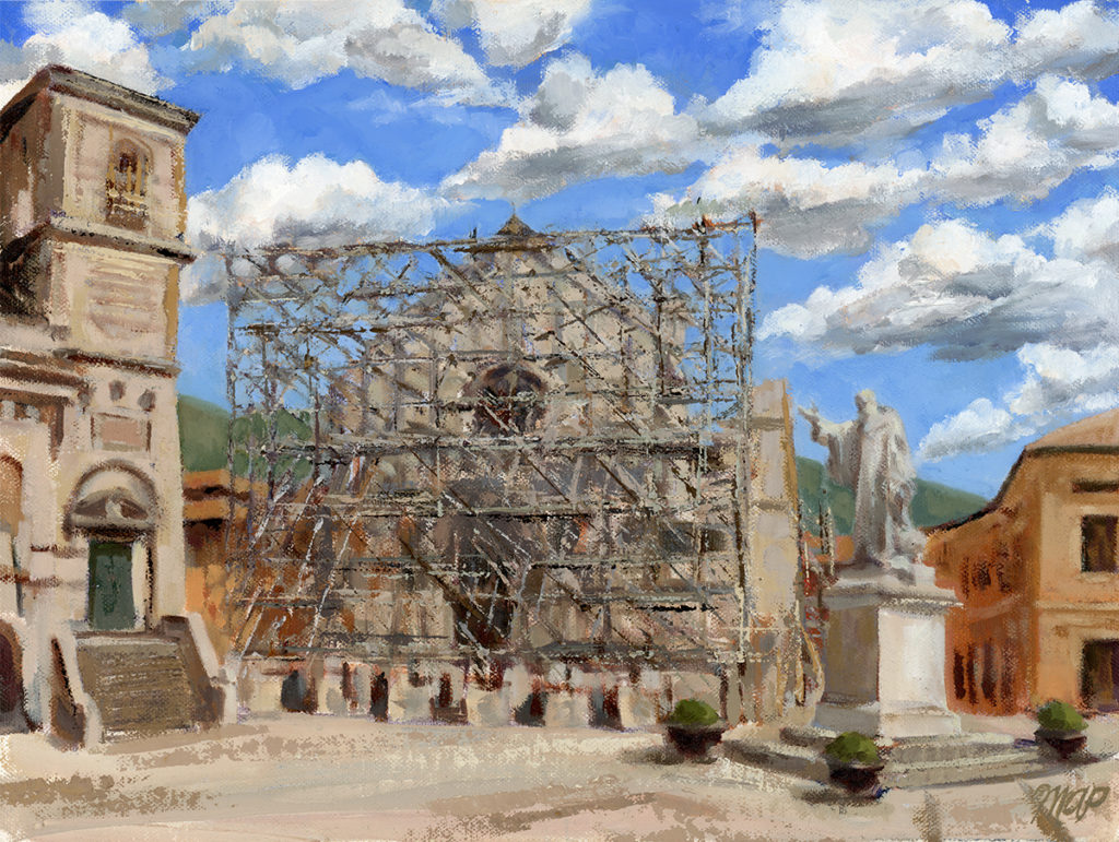 oil painting Basilica of St Benedict after the earthquakes