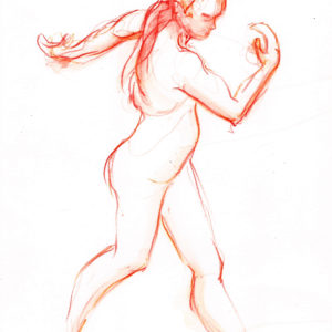 orange female dance walk watercolor on paper