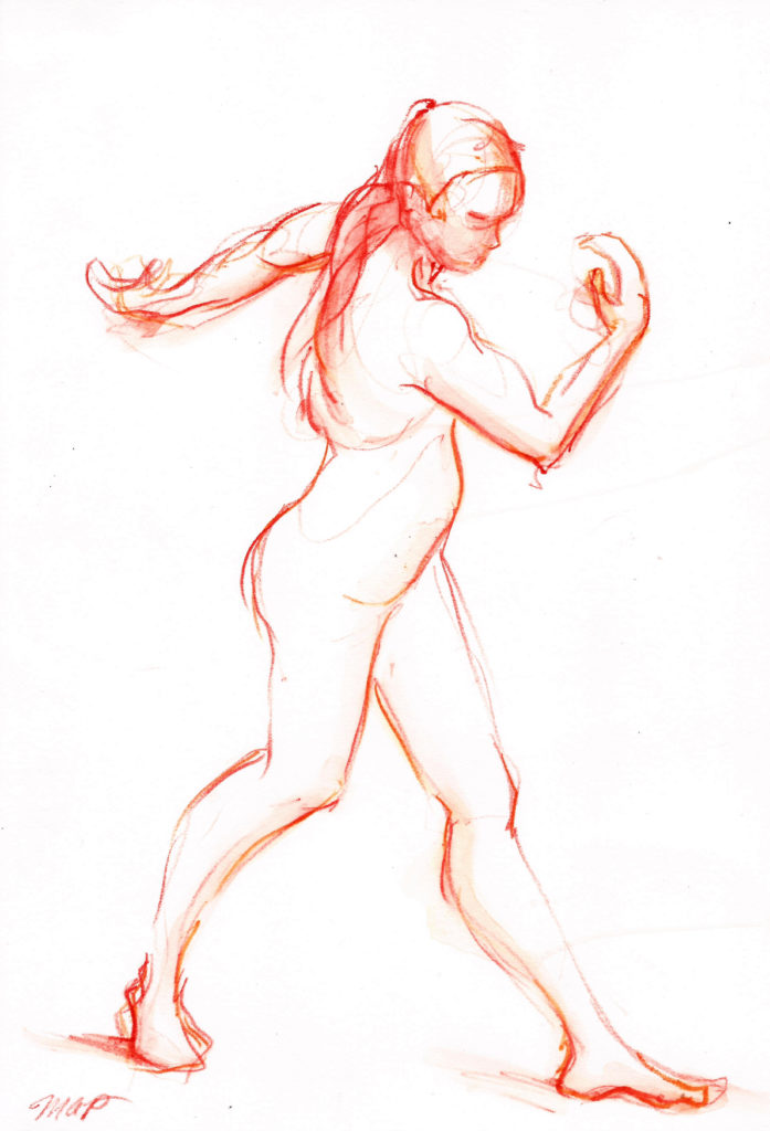 orange female dance walk watercolor on paper