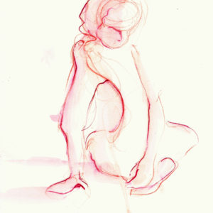 red twist watercolor figure