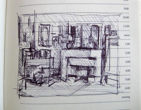 sketchbook study of vuillard's room