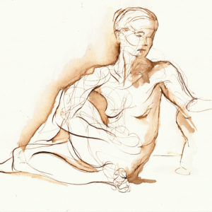 yoga twist walnut ink drawing image