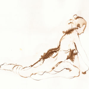 yoga pigeon pose walnut ink figure drawing