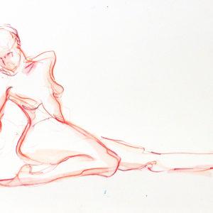 orange one leg back yoga drawing