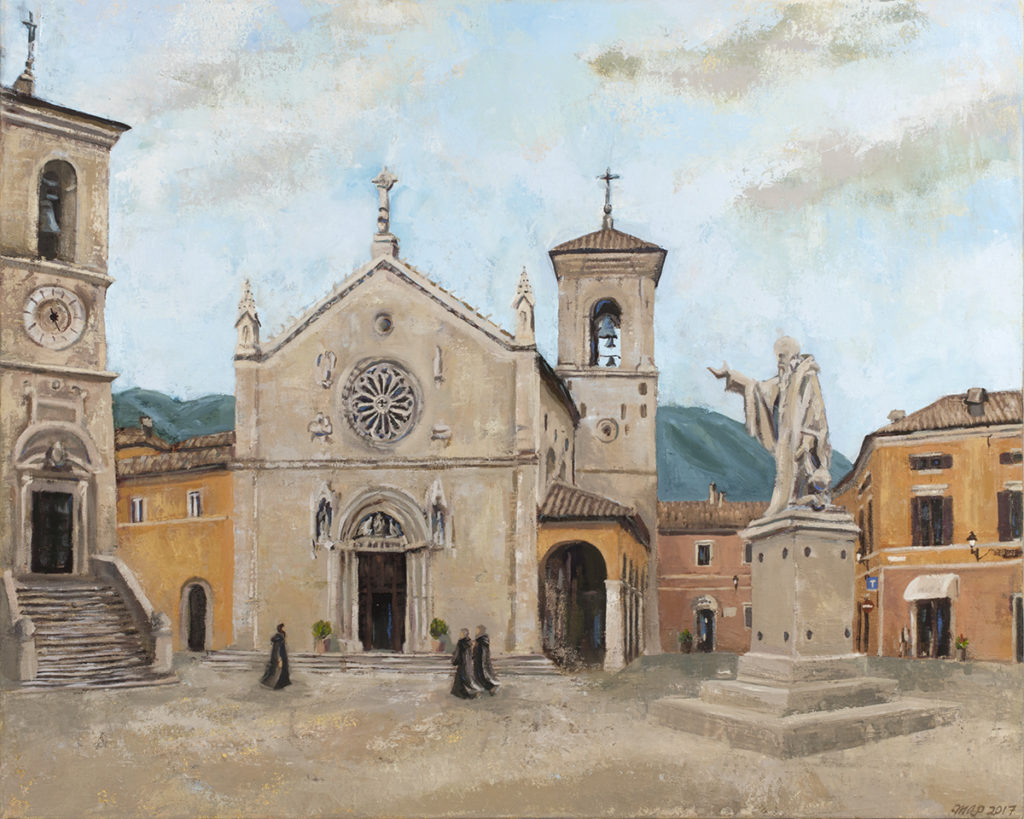 painting of basilica of norcia monks of norcia
