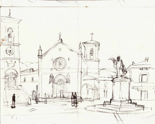 Drawing of the Basilica of Saint Benedict of Nursia by Michelle Arnold Paine