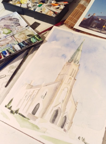 saint rose perrysburg church watercolor in progress.