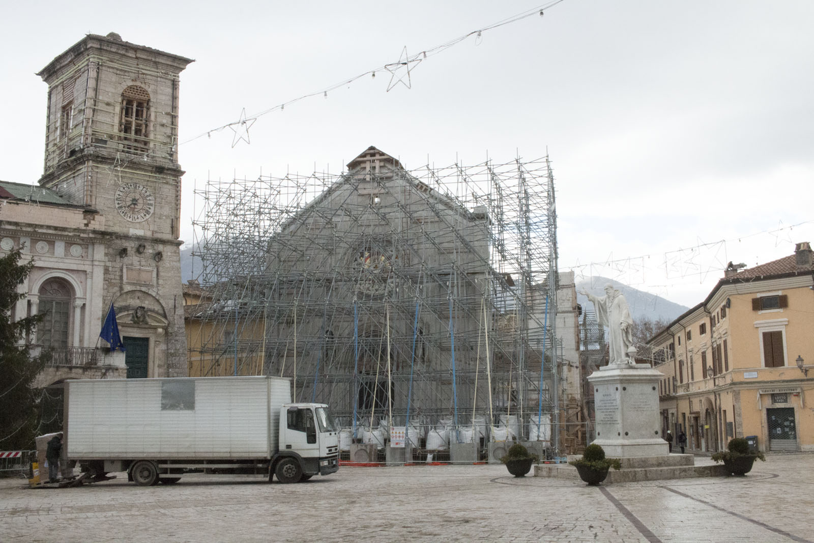 Basilica of St Benedict of Nursia Scaffolding