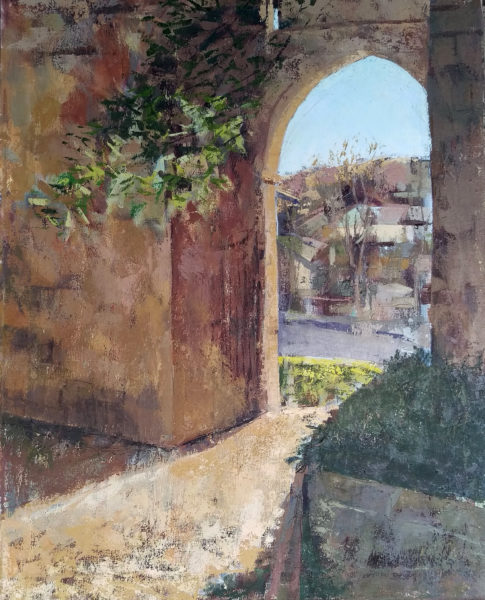 medieval gate oil painting by Michelle Arnold Paine