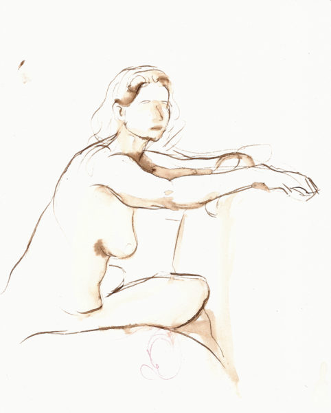 walnut ink drawing female figure drawing