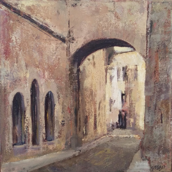 oil painting of medieval Italian archway by Michelle Arnold Paine