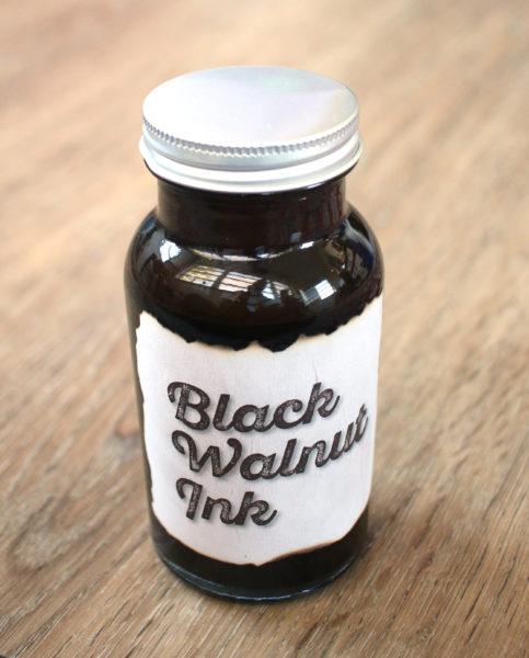 bottle of homemade walnut ink