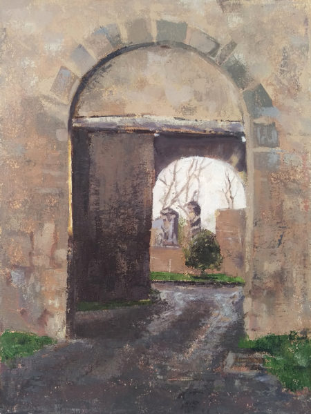 oil painting by Michelle Arnold Paine of Italian medieval city gate archway