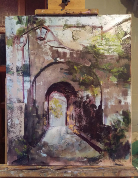 bagnoregio arches painting in progress with old landscape painting showing underneath