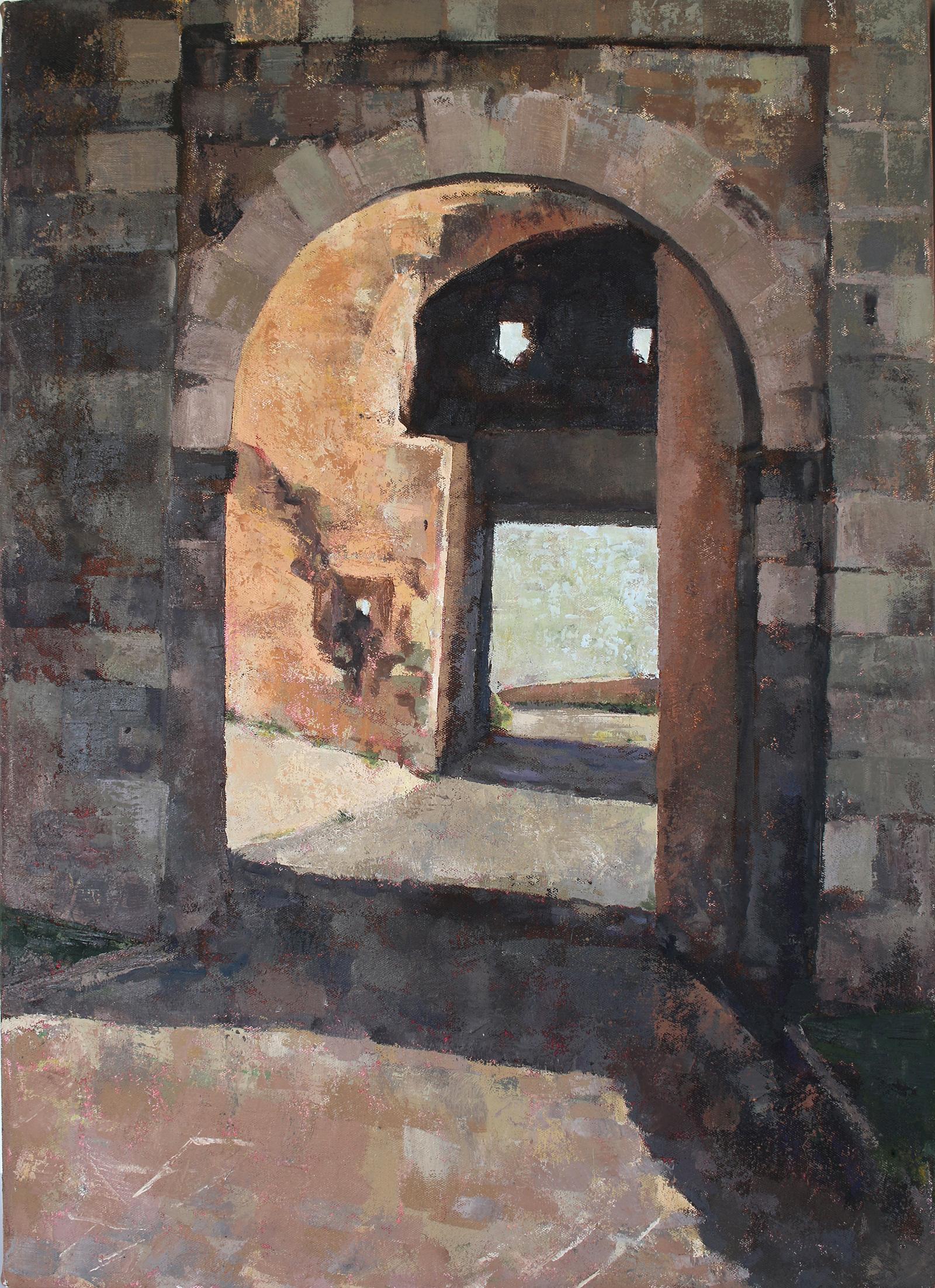 medieval gate orvieto oil painting