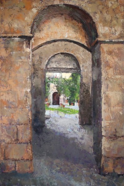Italian Medieval Courtyard oil painting by Michelle Arnold Paine