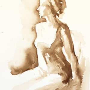Walnut Ink Figure Drawing Virgin Mary