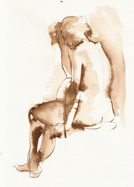 Nude Figure Ink Drawing by Michelle Arnold Paine