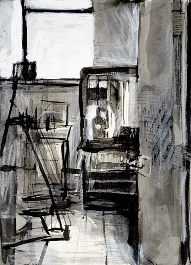 Mixed Media Drawing figure artist window and mirror studio scene Michelle Arnold Paine