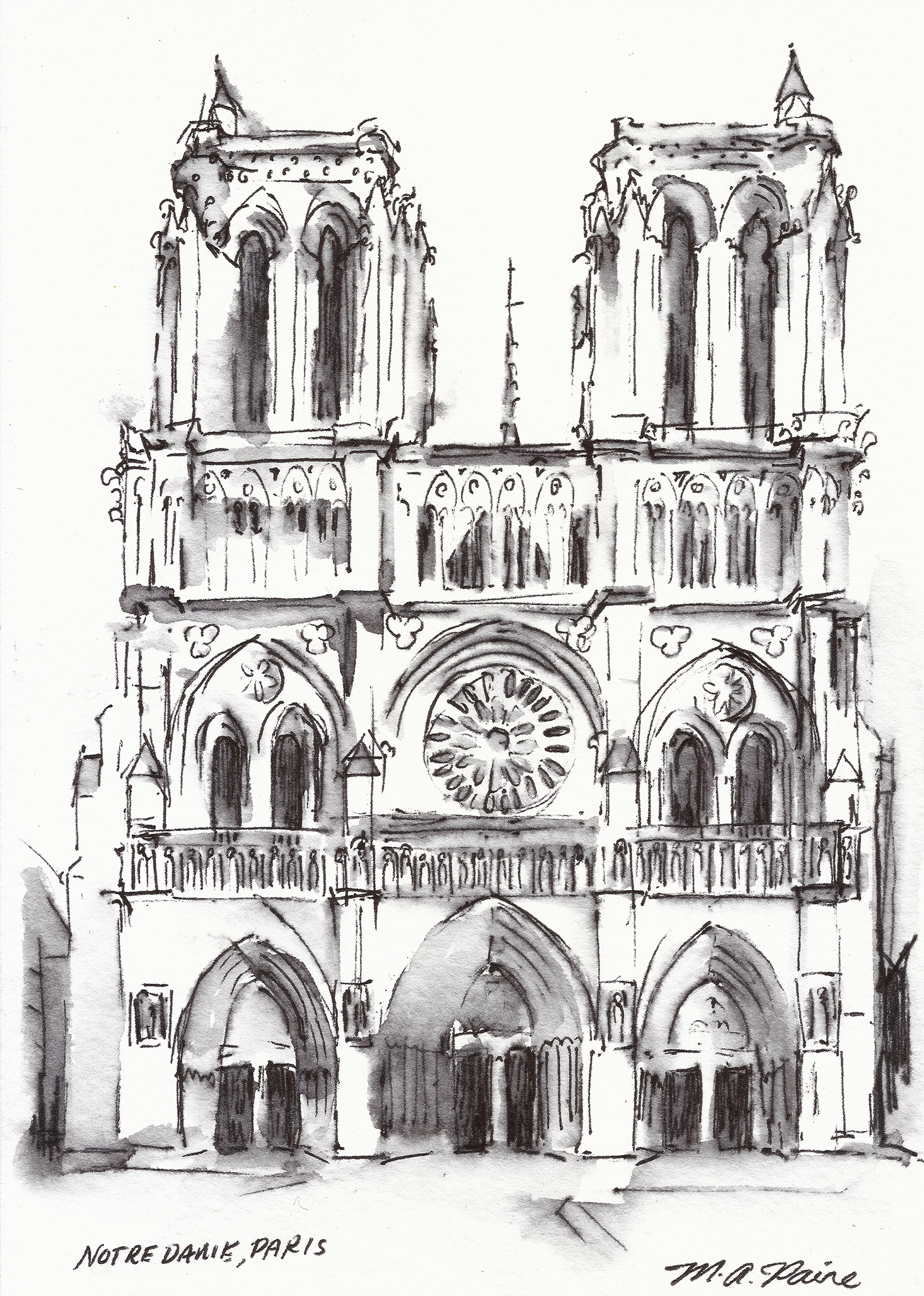 ink drawing of Notre Dame Cathedral Paris
