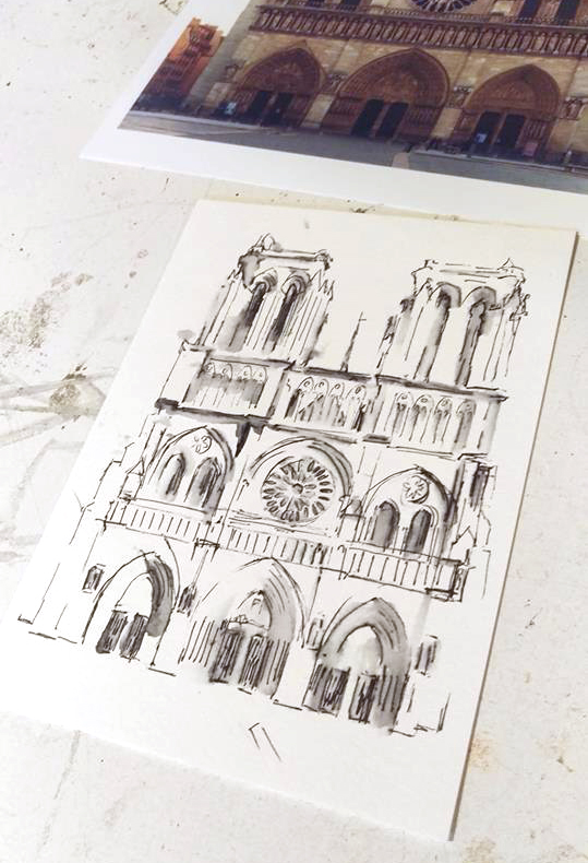 notre dame drawing in process