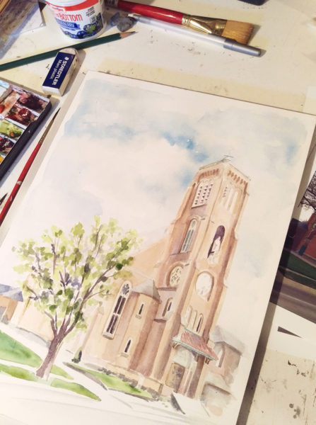 St Joseph Maumee Watercolor in Progress