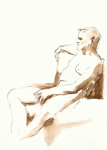 male nude ink drawing