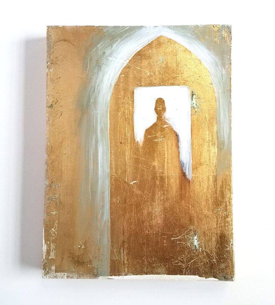 gold mixed media painting contemporary icon