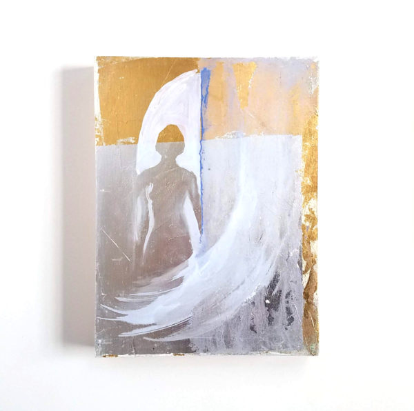 Gold and silver leaf with female silhouette mixed media contemporary icon painting